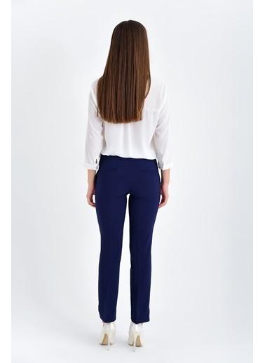 Jument Clevland Yüksek Bel Cepli Paçası Yırtmaçlı Pantolon Lacivert